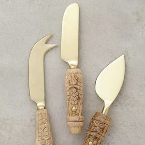 Anthropologie Carved Wooden Cheese Knives Set of 3
